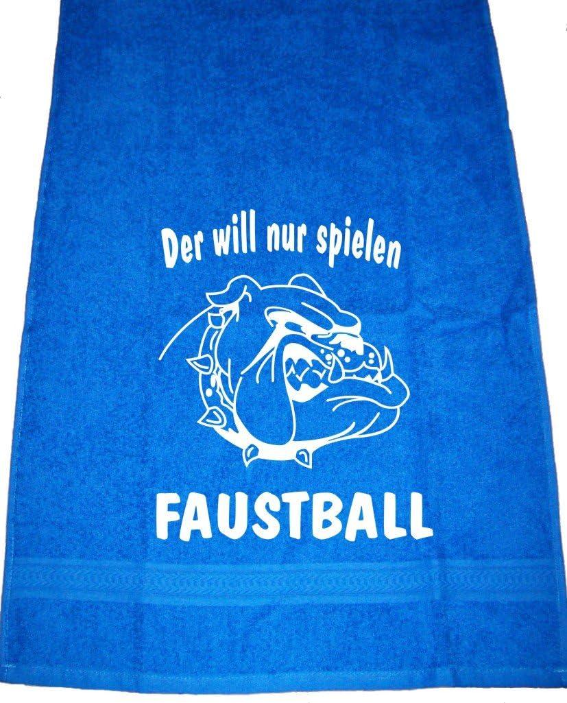 ShirtShop-Saar Der Will nur Spielen Faustball; Handtuch Sport