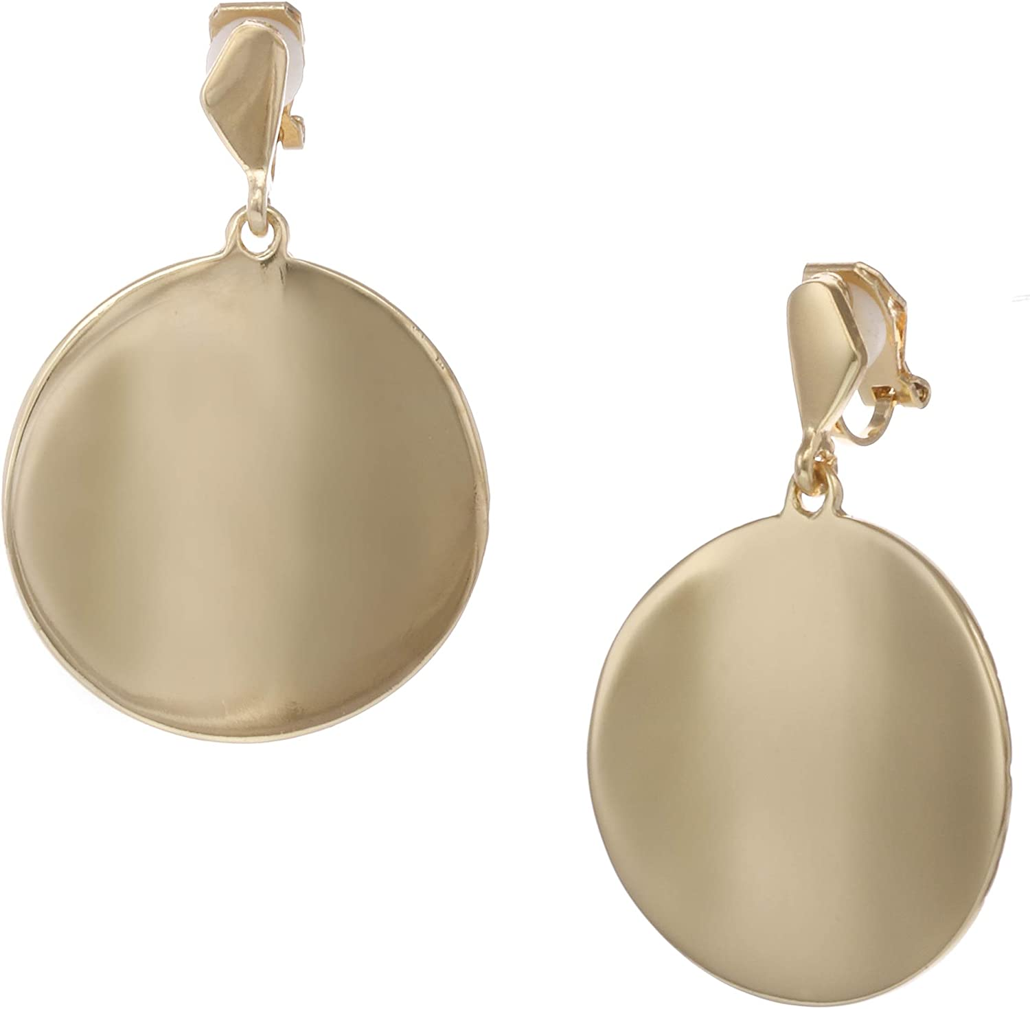 Laundry by Shelli Segal Metal Disc Drop Clip Earring