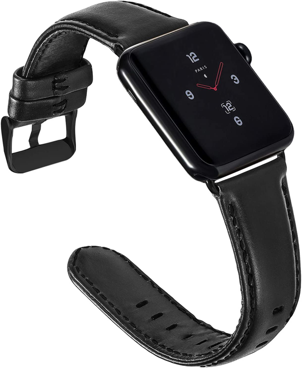 ALADRS Genuine Leather Watch Straps Compatible for Apple Watch Band 42mm 44mm, Wristbands Replacement for iWatch Series 6 5 4, SE (44mm) Series 3 2 1 (42mm), Black