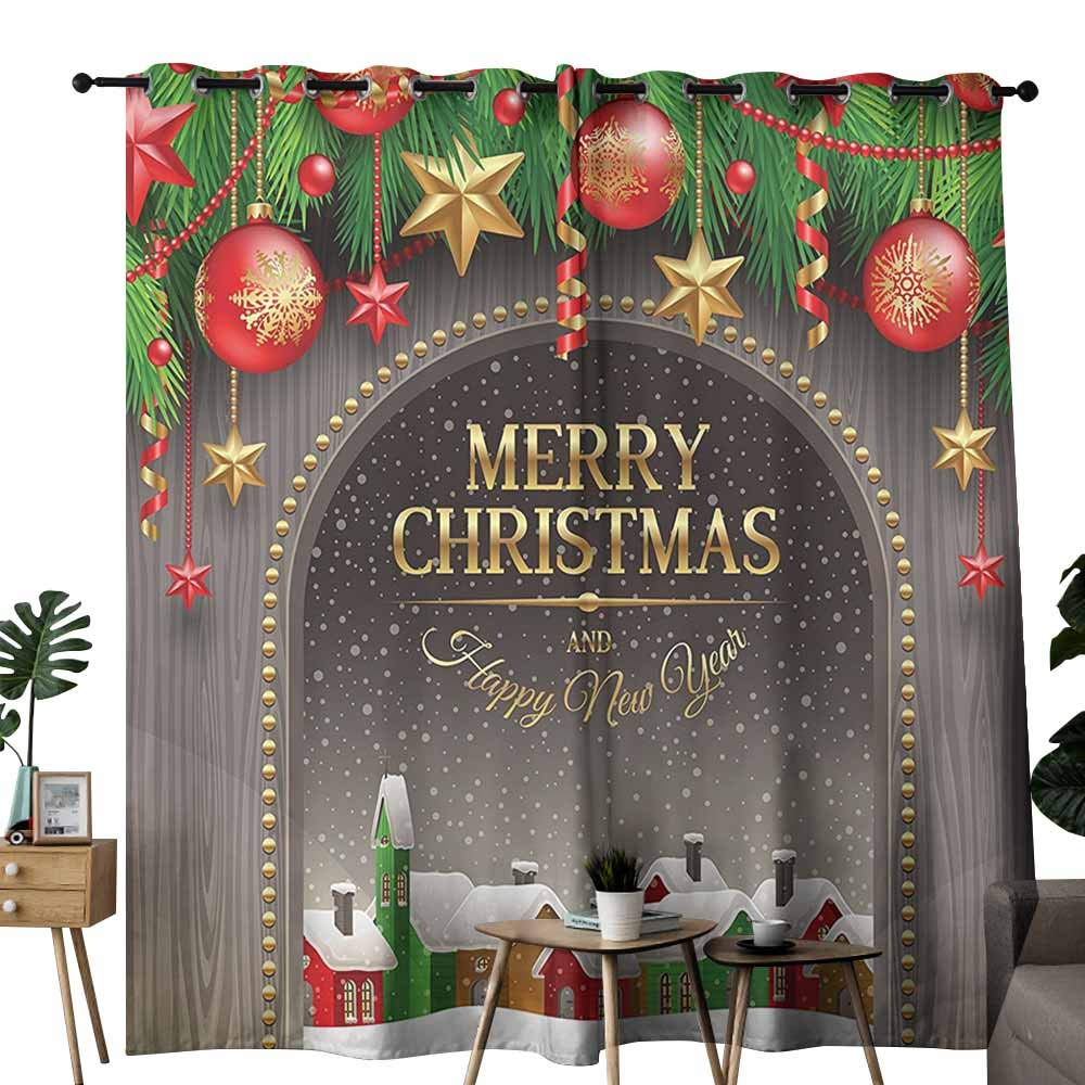 Merry Christmas Decoration Bedroom Curtain Christmas Gold Classic Rustic Design Season Greetings Golden Christmas Letters Village Ornament Wedding Party Home Window Decoration W96 xL84 Multi