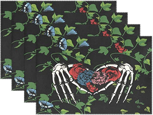 Amazon.com: WOOR Skeleton Hands Making Heart Placemats for ...