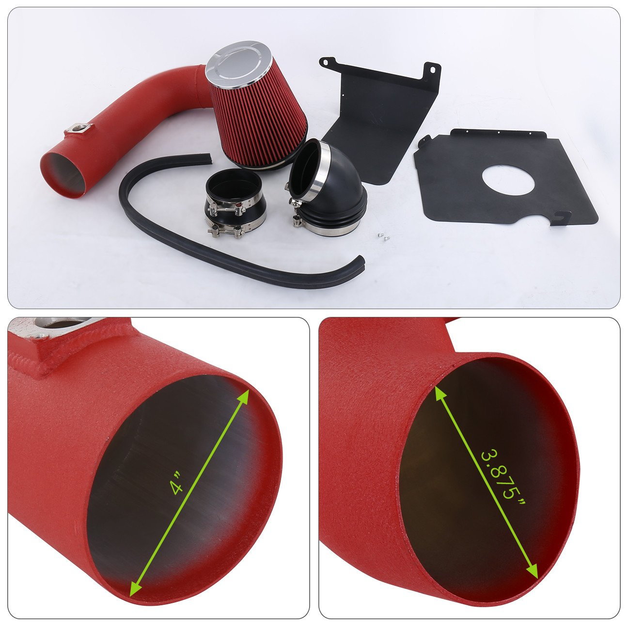 AJP Distributors For Chevy Silverado 2500Hd 3500 Gmc Sierra 2500Hd 3500 V8 6.6L High Flow Induction Air Intake System Heat Shield Red Wrinkle Piping Kit