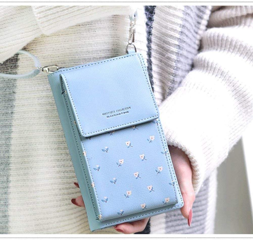 blu HMILYDYK Girls a tracolla mini borsa in pelle floreale Mobil Phone portamonete porta carte mini borsa a tracolla