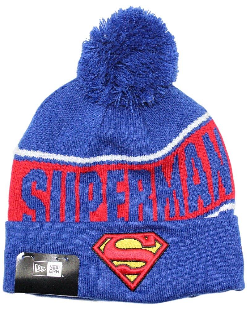 7348f91e367 Amazon.com   New Era Superman DC Comics Team Chant Cuffed Knit Hat with Pom    Sports   Outdoors