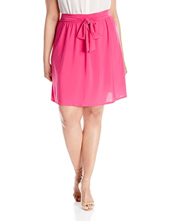 caeaa25ec4 Star Vixen Women's Plus-Size Knee-Length Full Skater Skirt with Self-Tie