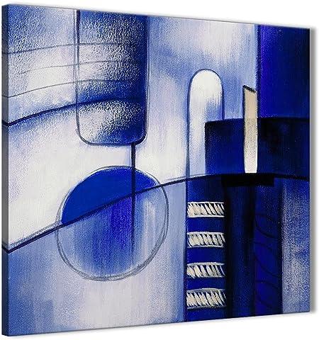 Bleu Indigo Crème Peinture Salon Toile Décoration Murale