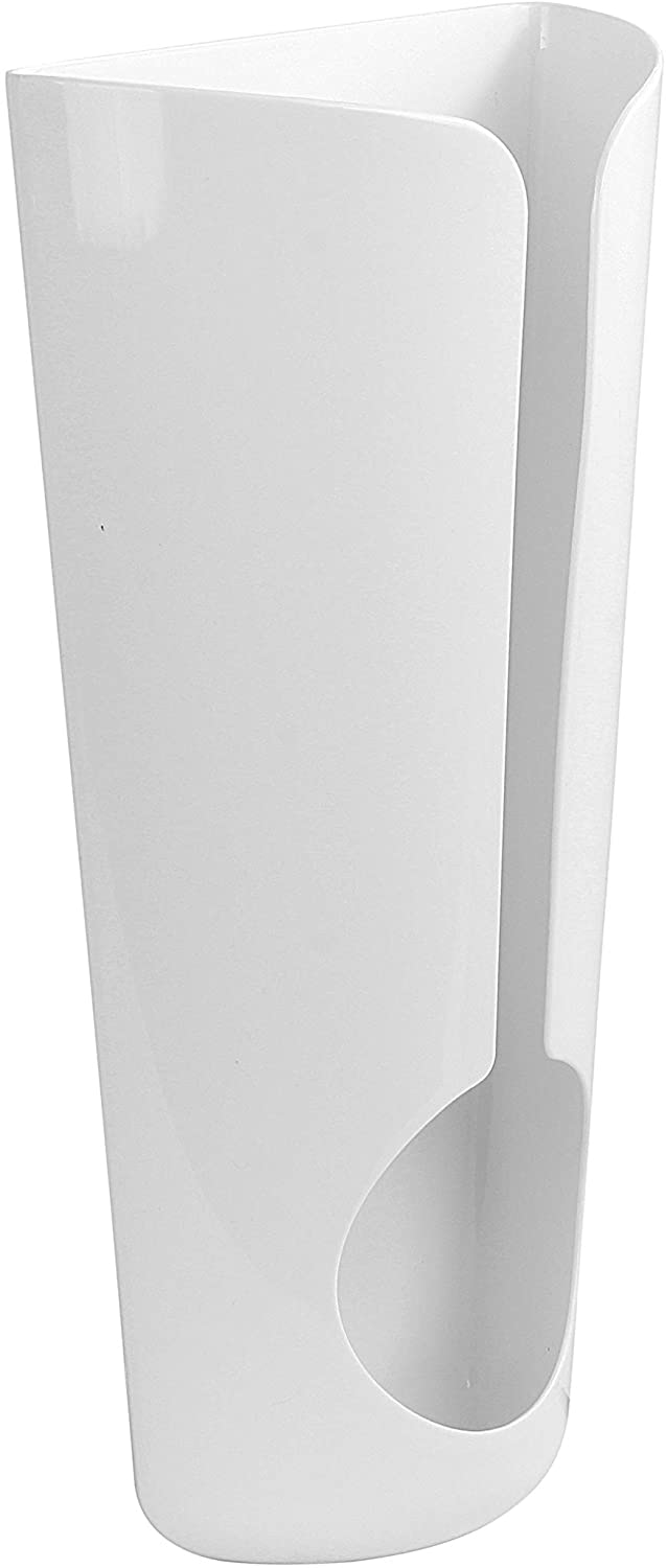 Spectrum Diversified, White Plastic Bag Holder, Wall Mount or Adhesive