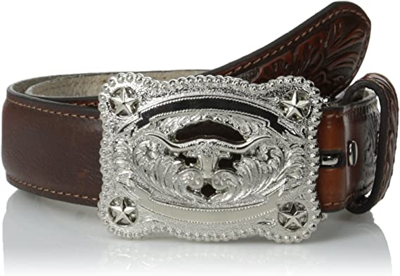 Nocona Western Boys Belt Kids Leather Tooled Floral Brown A1301002