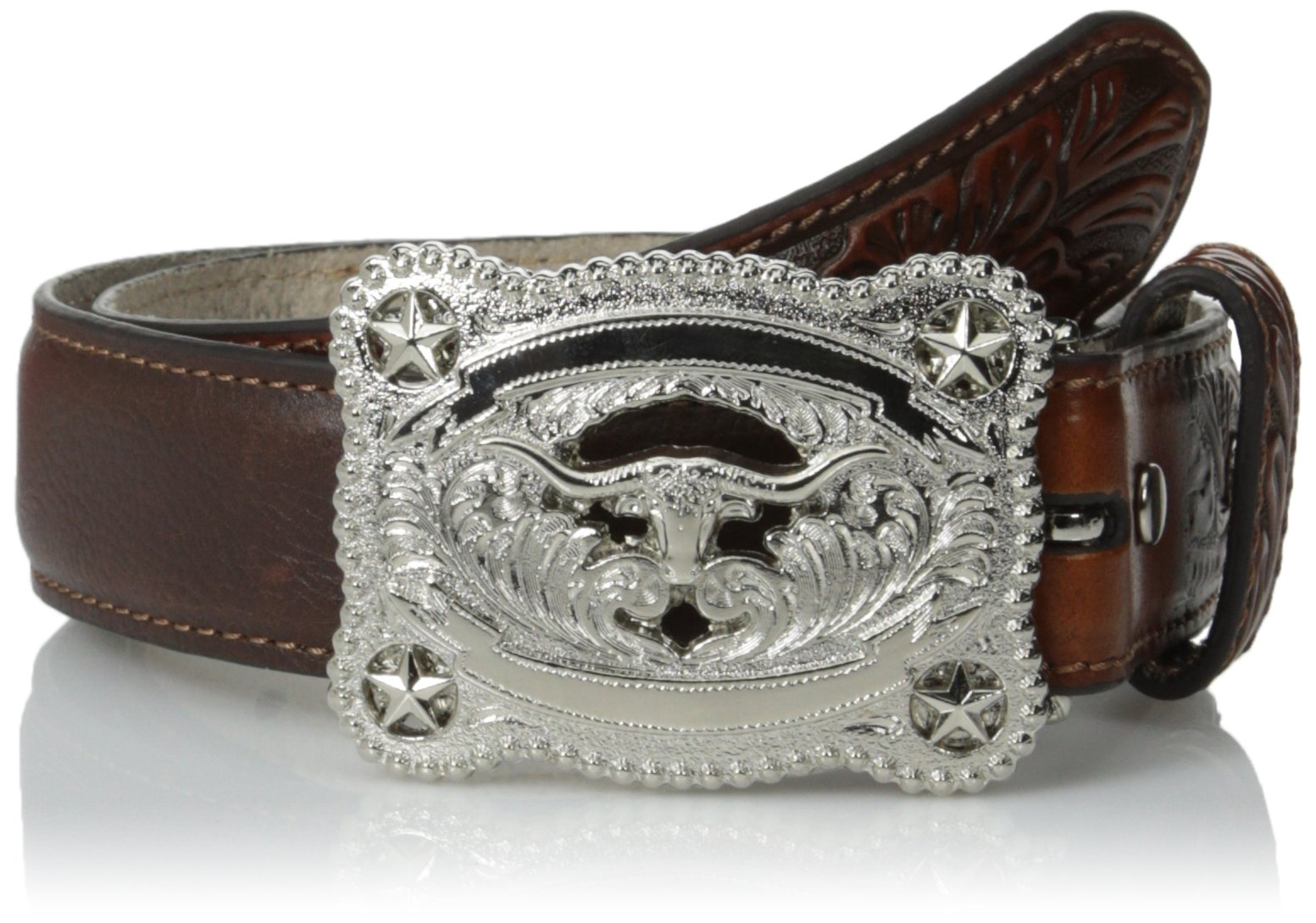 Nocona Boy's Longhorn Stars Buckle Belt, Brown, 20