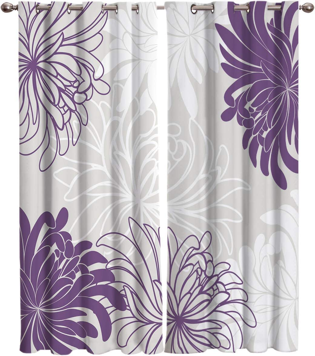 EZON-CH Blackout Curtains for Kitchen Bedroom Living Room Drapes,Colorful Floral Pattern White Purple Grey Thermal Insulated Curtains,Darkening Window Curtains 2 Panels,104 W by 96 L