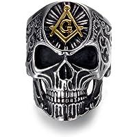 Men's Masonic Skull Rings Vintage Freemason Stainless Steel Heavy Metal Rock Punk Biker Bands