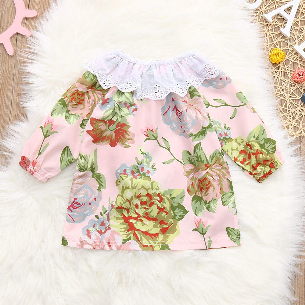 KONFA Toddler Baby Girls Lace Collar Floral T-Shirt,for 0-24 Months,Kids Long Sleeve Blouse Tops Autumn Clothes Set