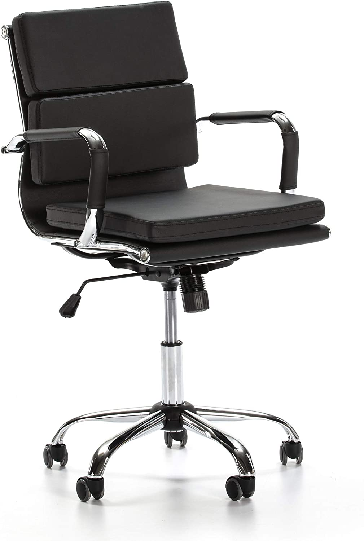 VS Venta-stock Sillón de Oficina Fenix reclinable Negro, Piel sintética, Silla ejecutiva con conjín engrosados, Altura Ajustable, Diseño ergonómico