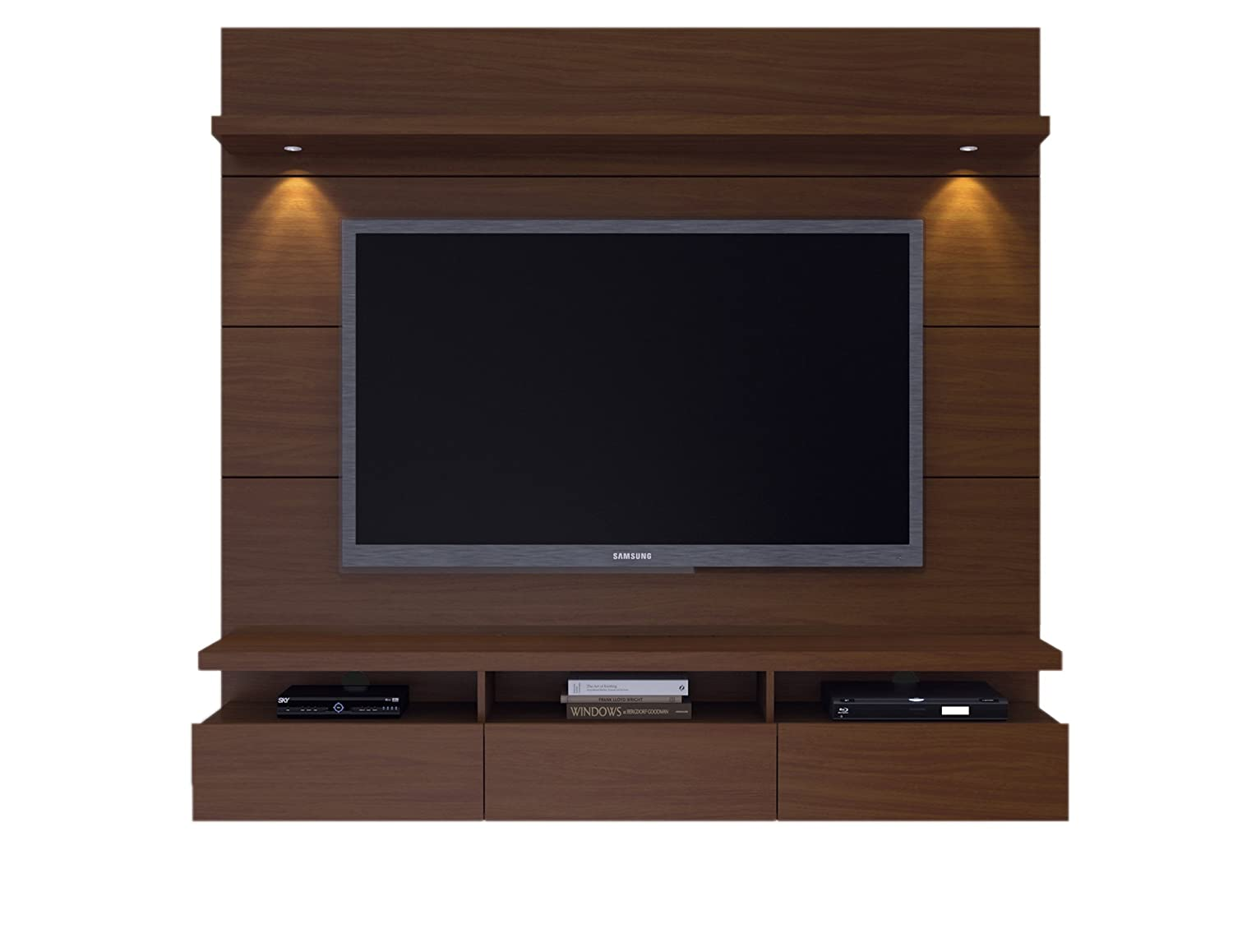 "Manhattan Comfort Cabrini Theater Panel 1.8 Collection TV Stand with Drawers Floating Wall Theater Entertainment Center, 71.25"" L x 16.73"" D x 67.24"" H, Nut Brown"