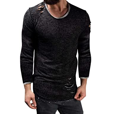 NRUTUP Men s Individuality Hole Slim Fit O-Neck Long Sleeve Muscle Tee T- shirt 88b004caf88a