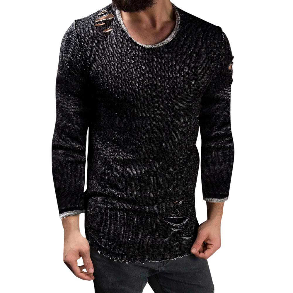 Mens Long Sleeve Blouse, Balakie Solid Slim Fit O Neck Muscle T-Shirt Hole Tops(Black,L)