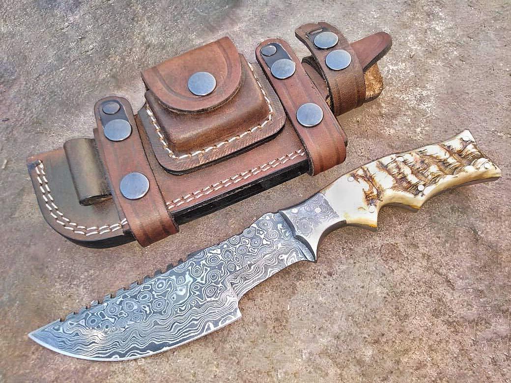 Ottoza Custom Handmade Damascus Tracker Knife with Ram Horn Handle - Survival Knife - Camping Knife - Damascus Steel Knife - Damascus Hunting Knife with Sheath Horizontal Scout Knife No:119