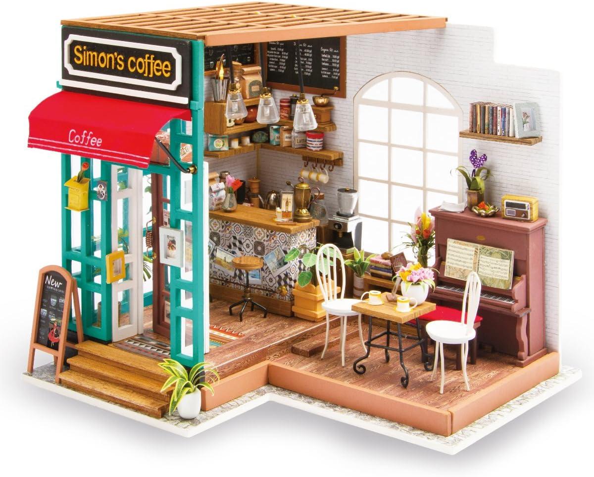 Rolife DIY Dollhouse Miniature Kit,House Kit with Dollhouse Furniture,Wooden Dollhouse Miniature Kits,Birthday/Christmas for Handicraft Lovers,Women and Girls(Simon's Coffee)