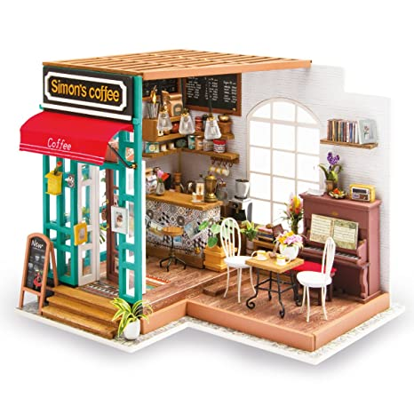 Amazon Com Robotime Diy Dollhouse Kit Miniature Coffee House Kits