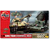 Airfix A50142 Classic Conflict Cromwell Cruiser and King Tiger Tanks 1:76 Scale Plastic Model Gift Set
