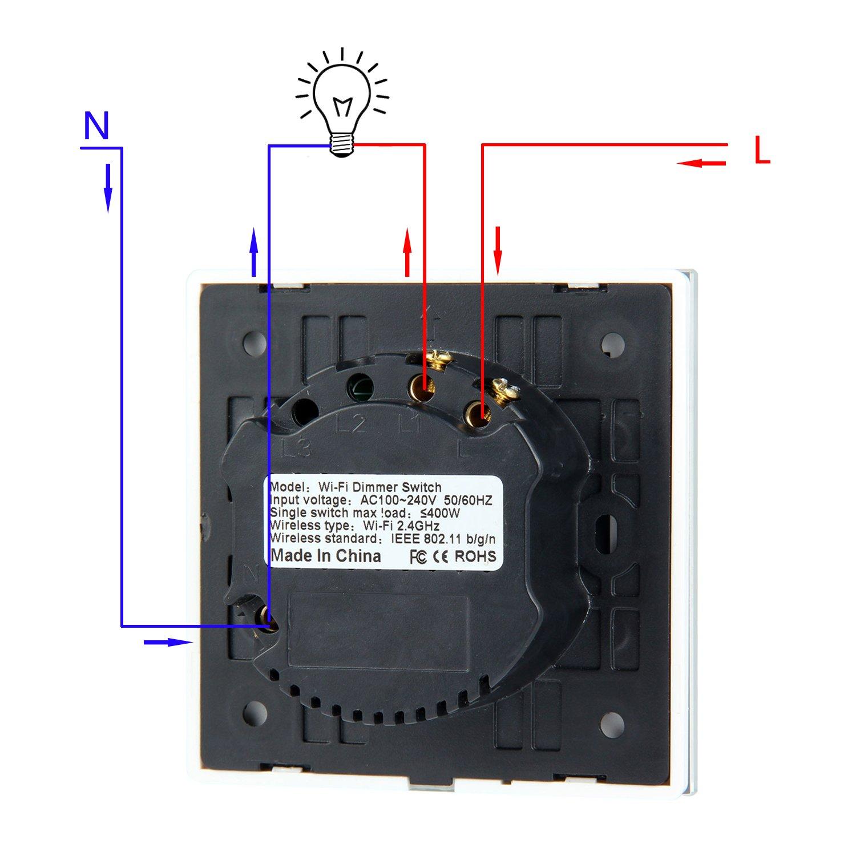 Interruptor de Atenuaci/ón Wifi Funci/ón de Temporizaci/ón iOS//Android APP Control Remoto leegoal Interruptores T/áctil Pared de Luz Inal/ámbrico Inteligente Compatible con Alexa//Google Home//IFTTT