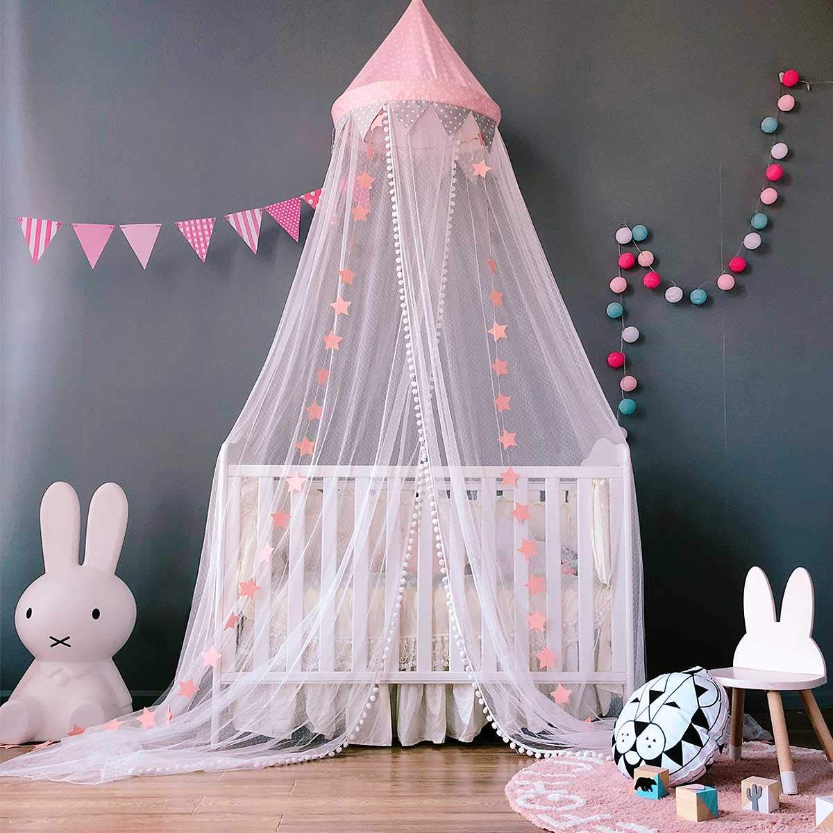 Dix-Rainbow Bed Canopy Mosquito Net Baby Crib Kids Twin Full Queen Size Bed, Reading Nook for Girls and Boys, Princess Lace Round Dome Fairy Netting Curtains, Kids Play Tent Castle Games House - Pink