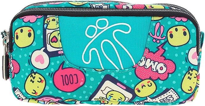 TOTTO AC52ECO003-1720Z-7VA Estuche Escolar Dos Compartimentos, 20 cm, Celeste emoji: Amazon.es: Oficina y papelería