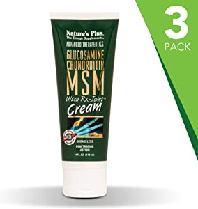 NaturesPlus Advanced Therapeutics Glucosamine Chondroitin MSM Ultra Rx-Joint Cream (3 Pack) - 4 oz Tube - High Potency Joint Support Cream - Greaseless - Penetrating Action