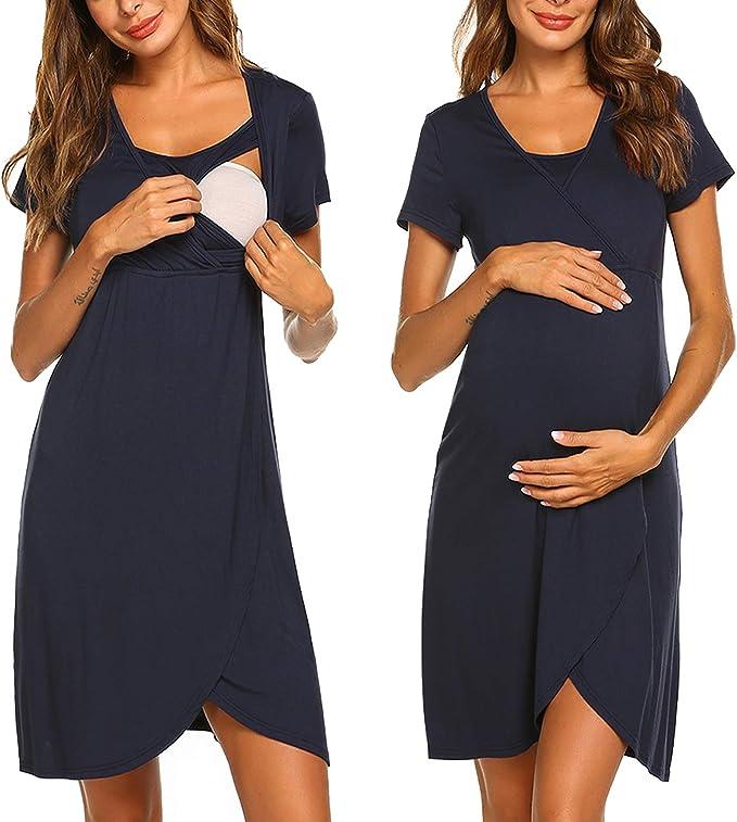 Vestido de lactancia, camisón corto para mujer, pijama, tope de ...
