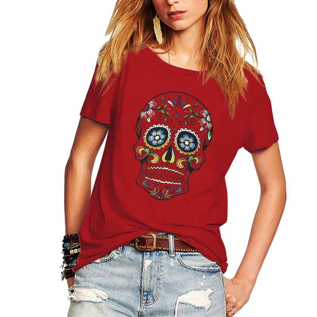 97e37aac5 Weigou Woman T Shirt Floral Skull Contrast Color Junior Tops Tee Punk  Street Style Lady Shirt