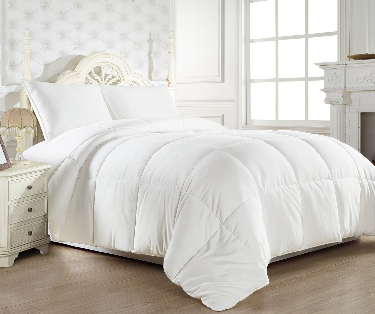 """Full/Queen 88""""x88"""" White Down Alternative Comforter Duvet Insert - Corner Tabs, Double Stitches, Piped Edges, Siliconized Fiber, Protects Against Dust Mites, Hypoallergenic, Allergy Free"""