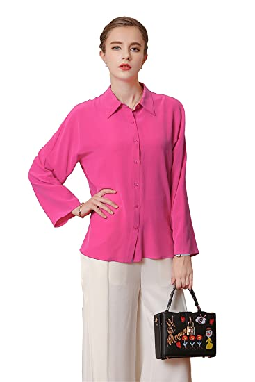 11417055 Image Unavailable. Image not available for. Color: VOA Women's Pink Silk  Long Sleeve Blouse Shirt Top B7597