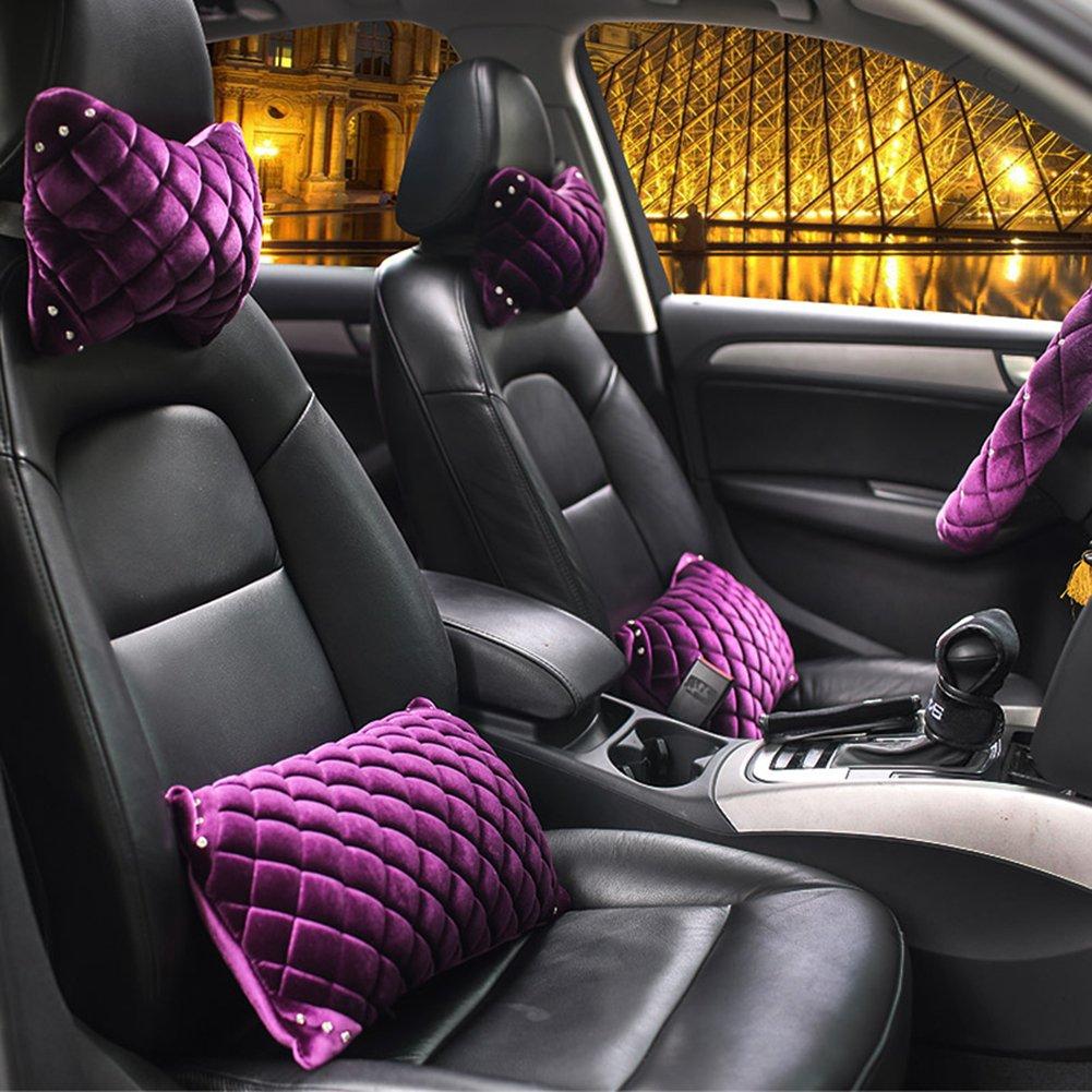 A.B Crew Luxury Purple Womens Winter Rhinestone Car Interior Trim Neck Pillow