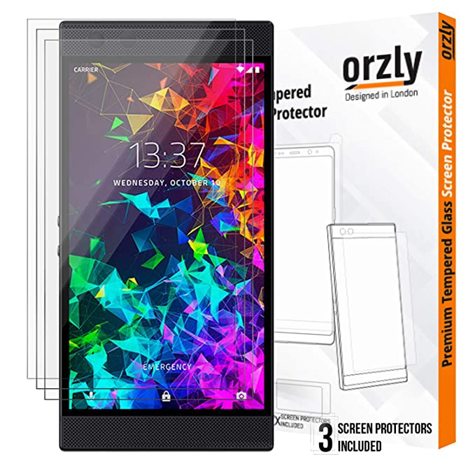 ORZLY® Razer Phone 2 Screen Protector, Triple Pack of Tempered Glass Screen  Protectors for Razer Phone 2, Full Screen Coverage (Fits Razer 2 model