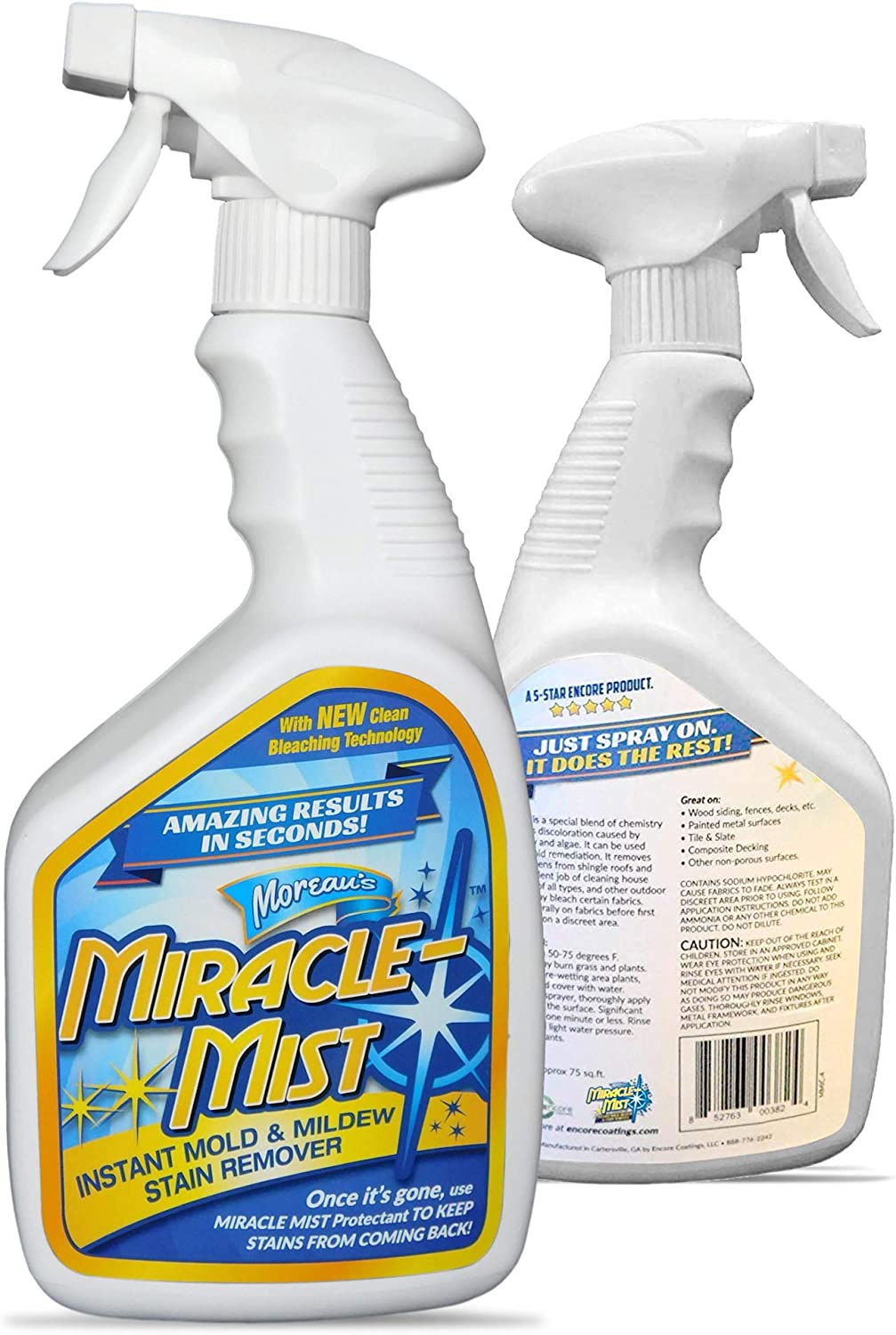 MiracleMist Long Term Protectant for Indoor and Outdoor Use, Long Lasting Bathroom, Boat, RV, Deck, Concrete, Vinyl + Title Protection from Mold, Mildew and Algae Stains, 32 oz