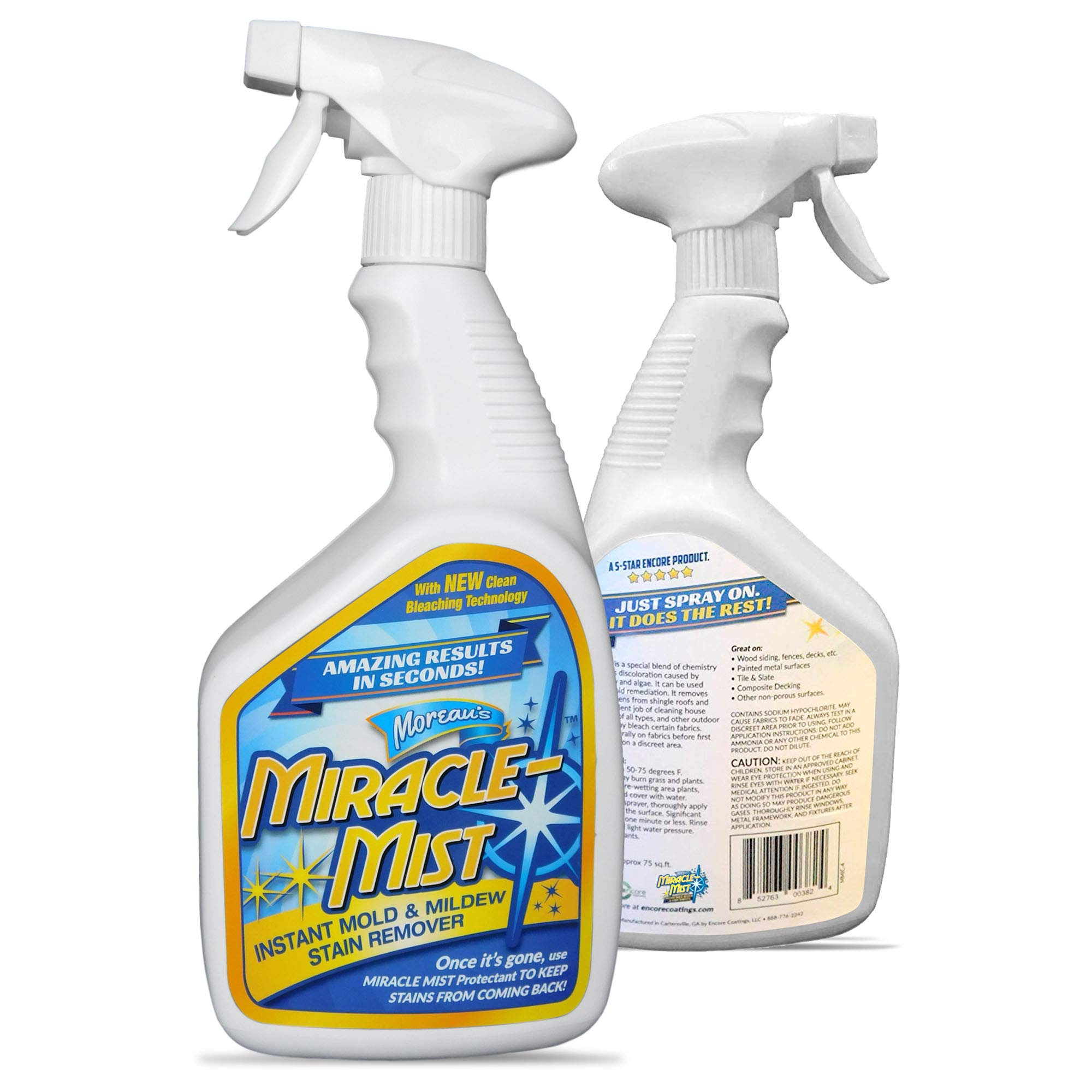 MiracleMist Instant Mold and Mildew Stain Remover for Indoor and Outdoor Use - Long Lasting Bathroom, Deck, Concrete, Vinyl, Tile Cleaner, 32 Oz by MiracleMist
