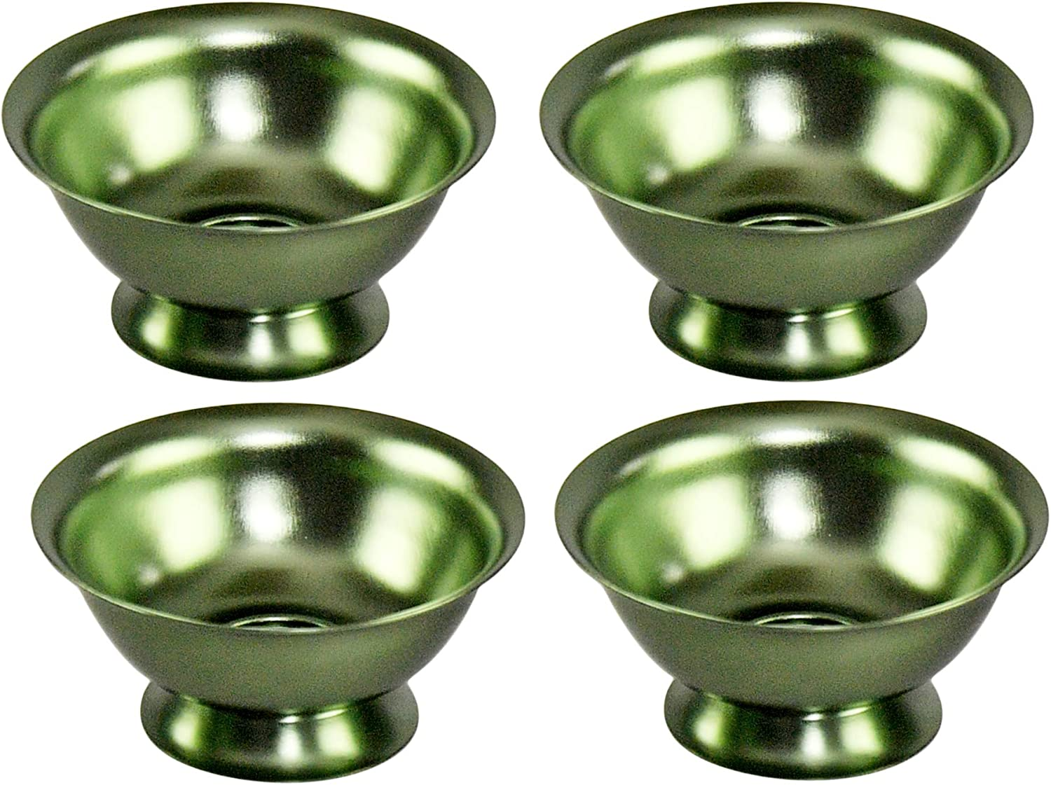 "HOME-X Green Aluminum Bowls, Serving Dishes, Colorful Food Prep Bowls, Nesting Storage Set of 4 – 4 ½"" D x 2"" H"