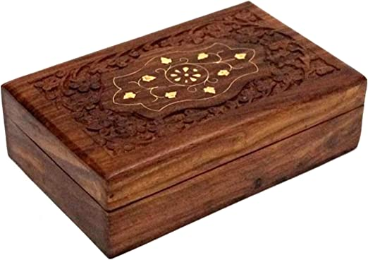 "Inlaid With Solid Brass Latest Wooden Storage Box 6/"" x 4/"" Hand-carved"