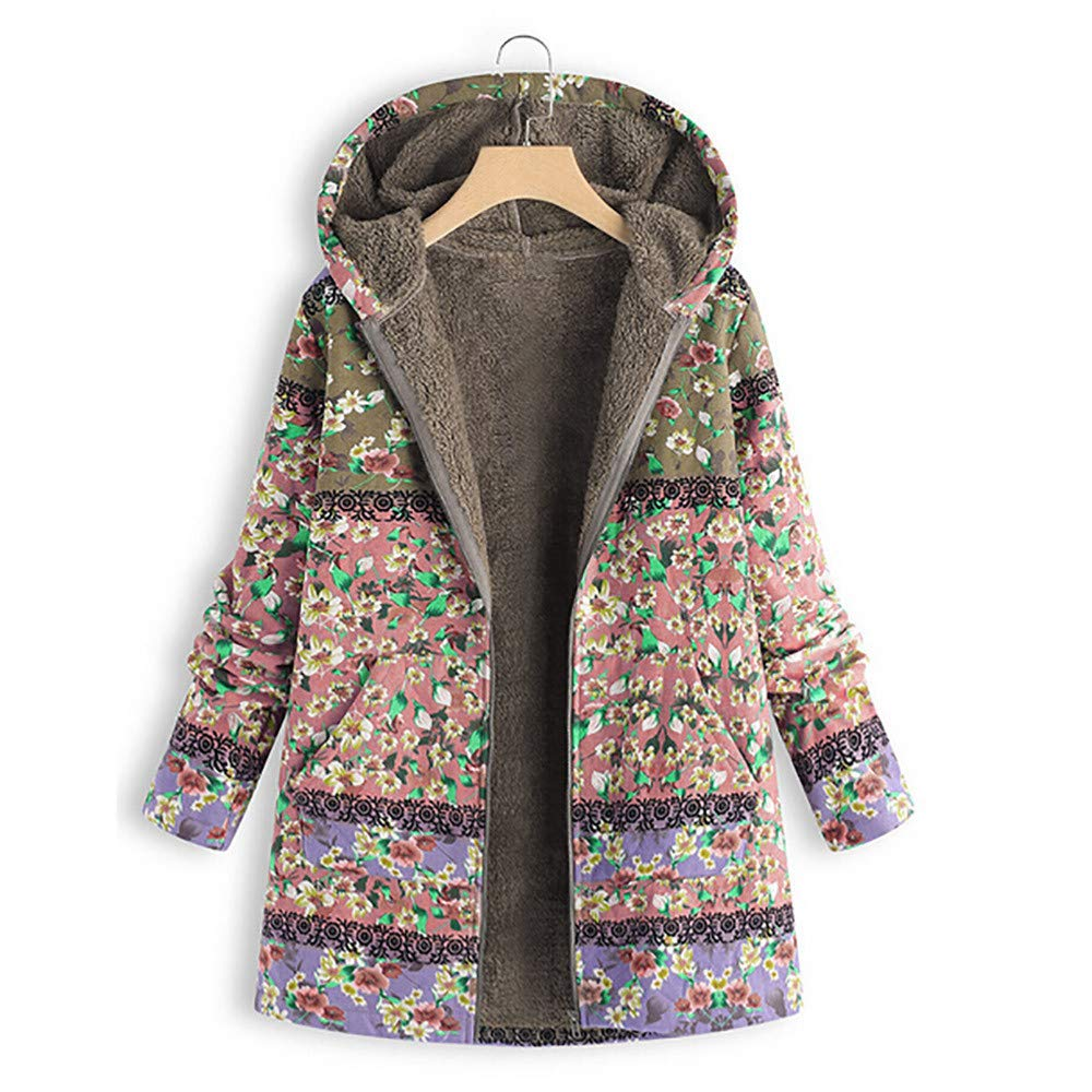 Winter Sale-Plus Size Women Vintage Printing Hooded Long Sleeve Fleece Thick Zipper Coat at Amazon Womens Clothing store: