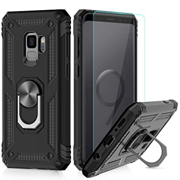 LeYi Funda Samsung Galaxy S9 Armor Carcasa con 360 Anillo iman Soporte Hard PC y Silicona TPU Bumper antigolpes Fundas Carcasas Case para movil ...