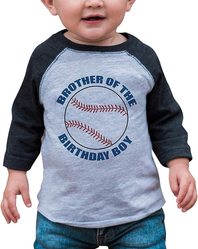 7 ate 9 Apparel Boys Big Brother Grey Baseball Tee