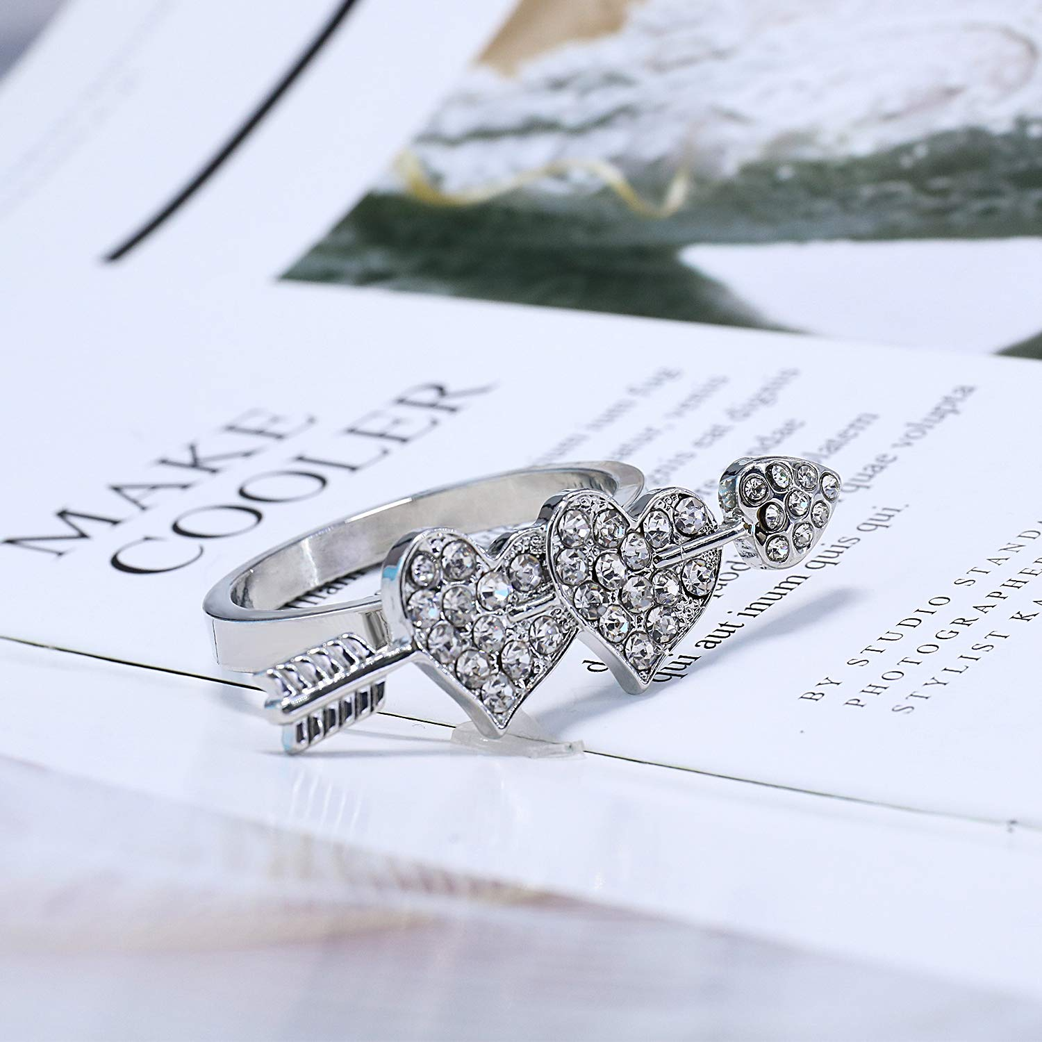 Wedding Napkin Rings Set 8pcs Holder Valentines Day Gift Banquet Dinner Decoration, Rhinestone Silver Sweet Heart