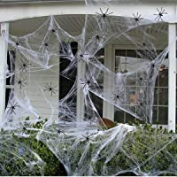 Fake Spider Web Halloween Decorations Outdoor 330 sqft Stretch Spider Webs with 100 Plastic Fake Spiders for Halloween…