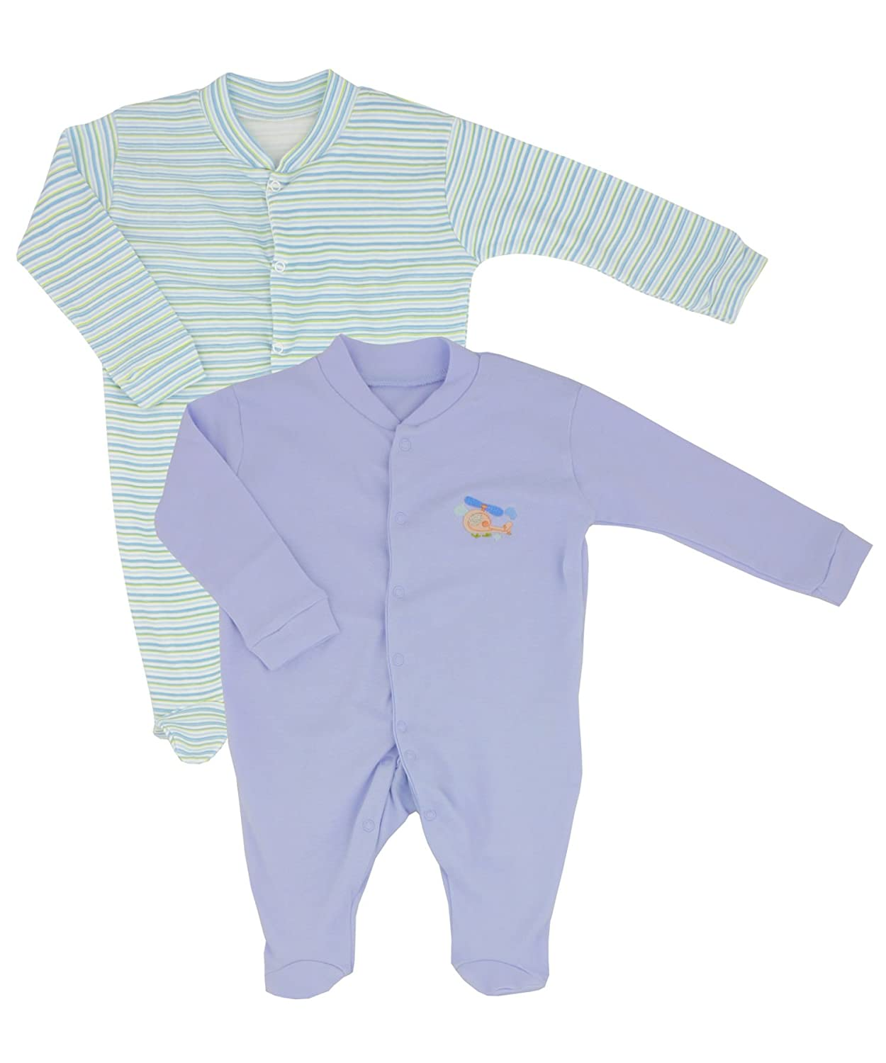 Nursery Time Twin Pack Baby Boys Sleepsuits