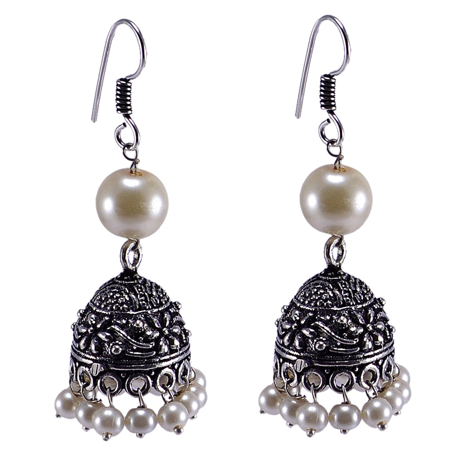 Saamarth Impex Pearl Gemstone Silver Plated Jhumka PG-119577