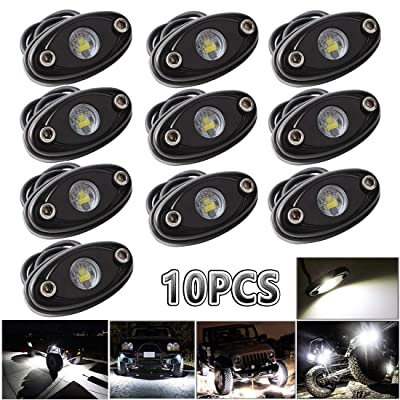 LEDMIRCY LED Rock Lights 10PCS White Kit for JEEP Off Road Truck RZR Auto Car Boat ATV SUV Waterproof High Power Neon Trail Rig Lights (Pack of 10,White): Automotive