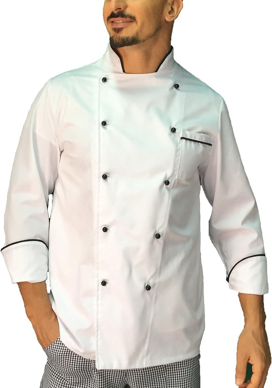 bianca e pied de poule Made in Italy giacca cuoco casacca chef donna tessile astorino Ricamo Gratuito