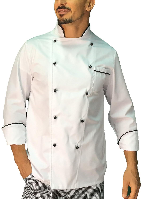 tessile astorino giacca cuoco chef basic bianca con profili neri, Made in Italy