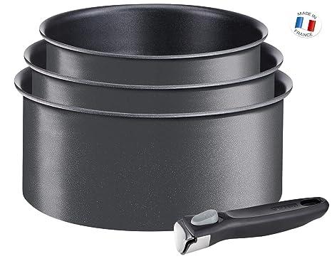 Tefal Ingenio Expertise - Set de 3 cazos de aluminio con mango extraíble de 16, 18 y 20 cm con 1,5, 2 ly 2,5 l de capacidad, antiadherente y extra de ...