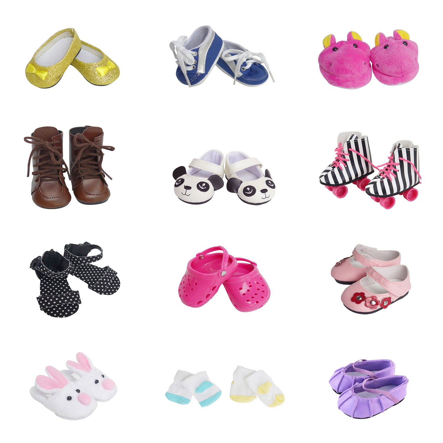 5 Pairs of Shoes + 2 Pairs of Socks Fits for 18 inch Doll Shoes American Dolls Accessories 100% Get Panda Shoes and Boots or Skates Festar
